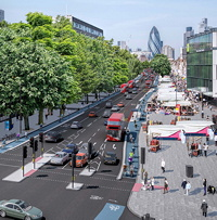 Visualisation of proposed segregated cycle tracks on Whitechapel High Street